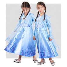 HOT Frozen 2 Fancy Dress Customize Anna Elsa Cute Girl Party Christmas Snow Queen Anna Elsa Princess Cosplay Costume(China)
