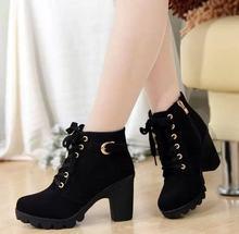 NAUSK 2019 Yeni Sonbahar Kış Kadın Çizmeler Yüksek Kaliteli Katı dantel-up Avrupa Bayan ayakkabıları PU Moda yüksek topuklu çizmeler 35-43(China)