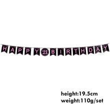 Feliz aniversário festa de aniversário decoração placa de festa feliz aniversário para 21 30 idade suprimentos ouro rosa giltter festa copo placa toalha(China)