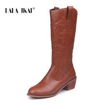 LALA IKAI Nữ Giữa bắp chân Giày Mùa Đông PU Da Gót Vuông Giày Nữ Trơn In Hình Giày Vật Tổ mũi Nhọn Giày WC4877-4(China)