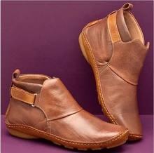 Botas de tornozelo de couro do plutônio feminino outono inverno cruz com tiras do vintage botas do punk flat senhoras sapatos mulher botas mujer(China)