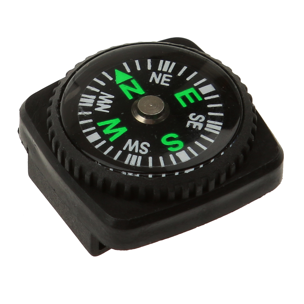 Waterproof Mini Compasses w/ Holster Watch Band Paracord Bracelet Compass Camping black 24mm x 24mm x 12mm