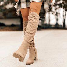 Shujin Giày Bốt Nữ Phối Ren Gợi Cảm Giày Cao Gót Nữ Giày Nữ Phối Ren Mùa Đông Đầu Gối-Giày Cao Kích Thước Ấm 35 -43 2019 Bốt Thời Trang(China)