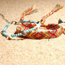 Bohemian El Yapımı Örgü Pamuk Renkli Halhal Vintage Shell Denizyıldızı Kolye Çekicilik iphalat Halhal Bilezik Kadın 2 adet/takım(China)