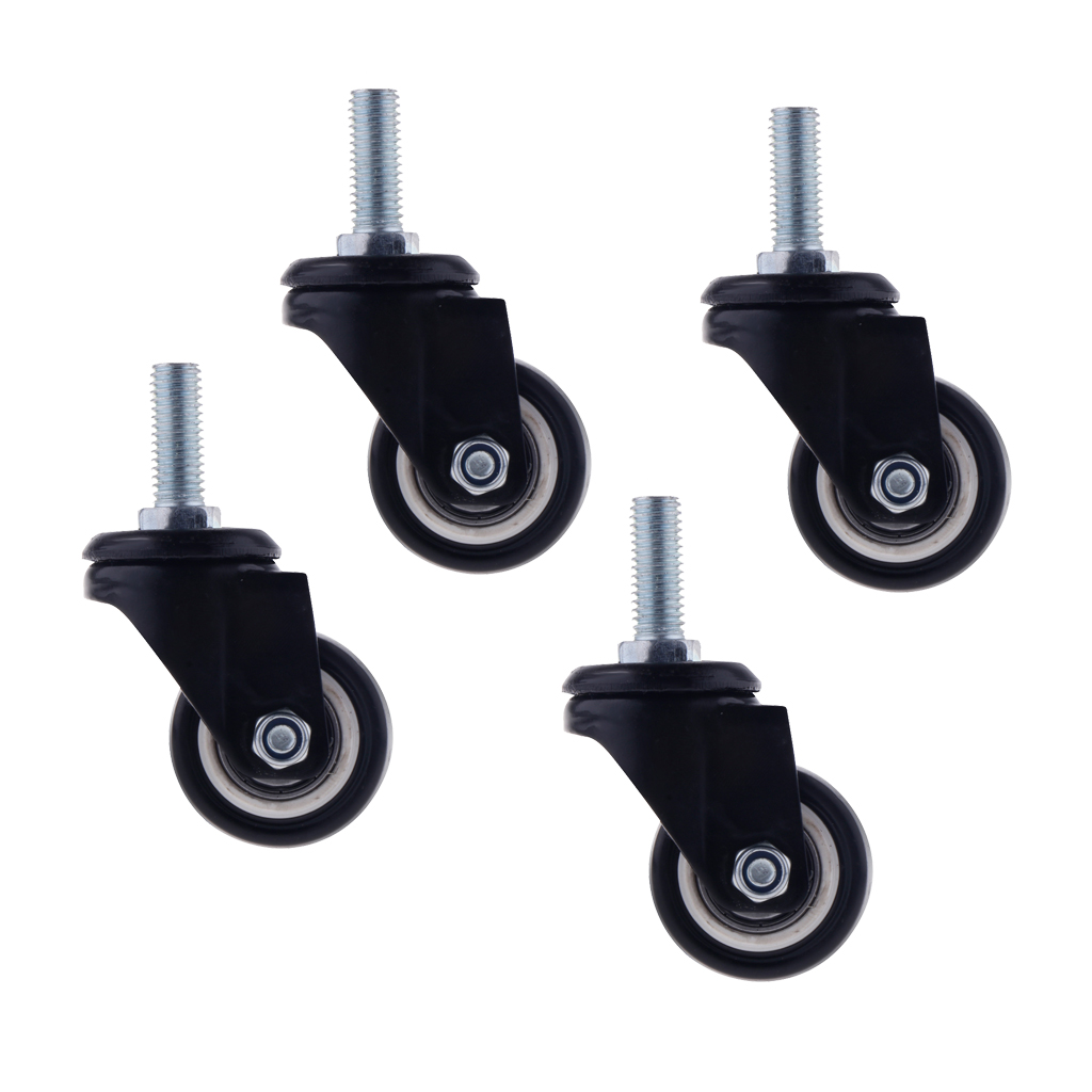 4PCS 1.5 inch Mute Rubber Swivel Plate Caster Wheel M10, Environmentally friendly and wear-resistant Poly Urethane w/ Lock Brake