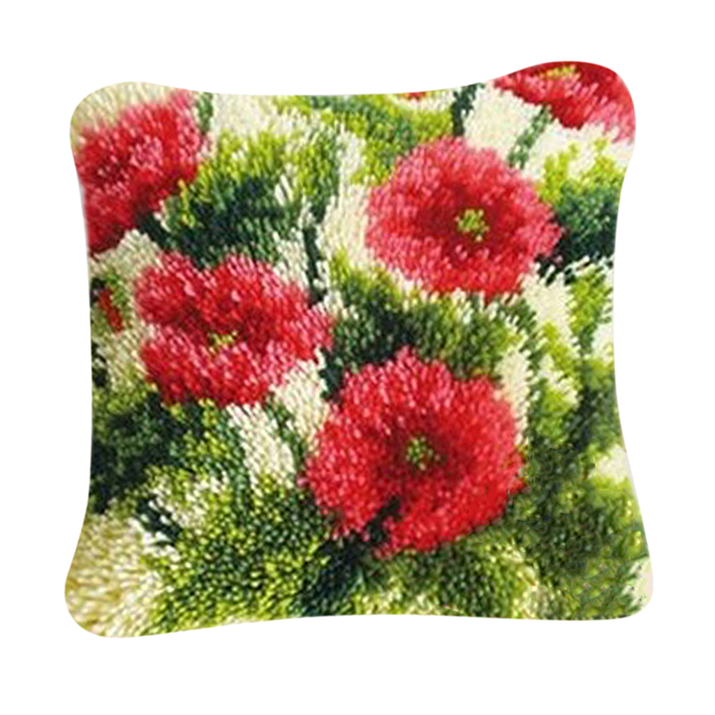 Latch Hook Kit DIY Rug Carpet Handcraft Cushion Embroidery Set Crocheting for Kids & Adults Flower Grass Pattern (16x16 inch)