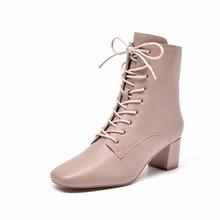 BeauToday yarım çizmeler kadın koyun derisi hakiki deri Zip dantel-up kare ayak yüksek topuk bayan botları el yapımı 03372(China)