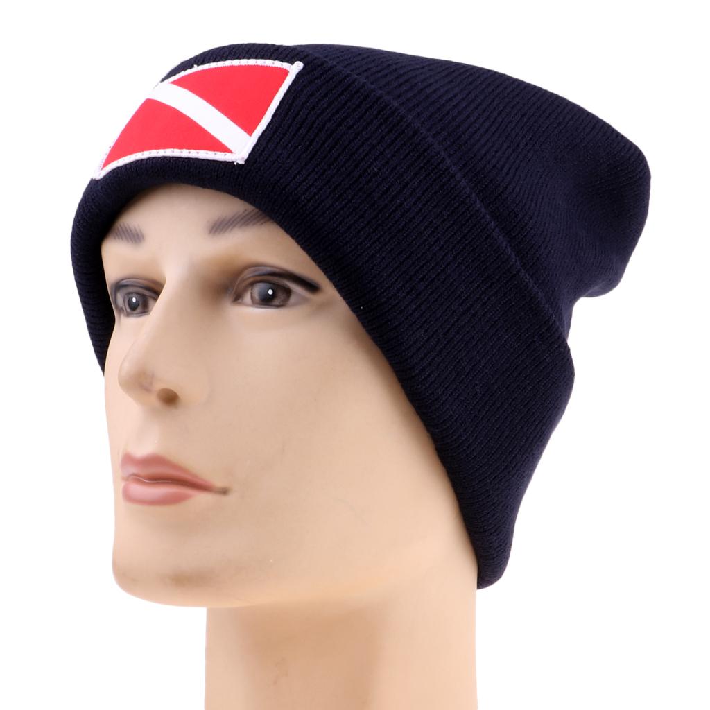 Dive Flag / Diver Down Scuba Diving Surf Kayak Sports Knit Beanie with Dive Flag/diver Down Design Hat Cap