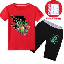 Dei Ragazzi di estate Modello di Gioco Minecrafted T Shirt + pants 2pcs Del Manicotto del Bicchierino 100% cotone T-Shirt per Ragazza Top Kid tshirt 8 12 14 Anni(China)