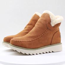 BONJOMARISA sıcak satış 34-43 bayan kış kaymaz ayak bileği kar botları kadın 2019 sıcak peluş Platform çizmeler casual takozlar ayakkabı kadın(China)