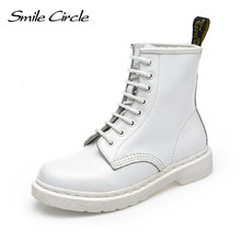 Natuurlijke Wol Lederen Laarzen Vrouwen wit enkellaarsjes punk motorlaarzen Vrouwelijke Herfst Winter Schoenen voor vrouwen(China)