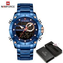 NAVIFORCE mężczyźni wojskowy Sport Wrist Watch złoty kwarc stal wodoodporny podwójny wyświetlacz męski zegar zegarki Relogio Masculino 9163(China)