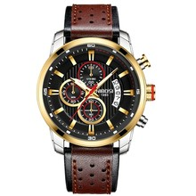Nibosi Top Brand Mewah Chronograph Kuarsa Watch Pria Olahraga Jam Tangan Militer Angkatan Darat Kulit Wrist Watch Clock Relogio Masculino(China)