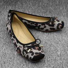 2020 frühling Frau Leopard Ballett Frauen Slip auf Loafers Damen Wohnungen mit BowFordable Ballerina Plattform Comfy Casual Flache Schuhe(China)
