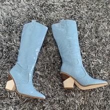 Marka mikrofiber deri kadın diz yüksek çizmeler seksi sivri burun yüksek topuklu batı botları kadınlar Kış tıknaz kama çizmeler(China)