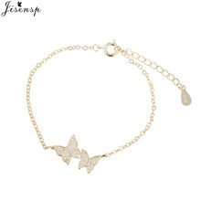 Jisensp العصرية الفضة متعددة الزركون فراشة القلائد المعلقات للنساء مجوهرات الزفاف بيان قلادة المختنق هدية(China)