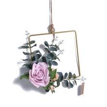 -Геометрическая металлическая гирлянда, украшение для дома, искусственный цветок розы, кольцо, держатель, настенный обруч, подвесное украше...(Китай)