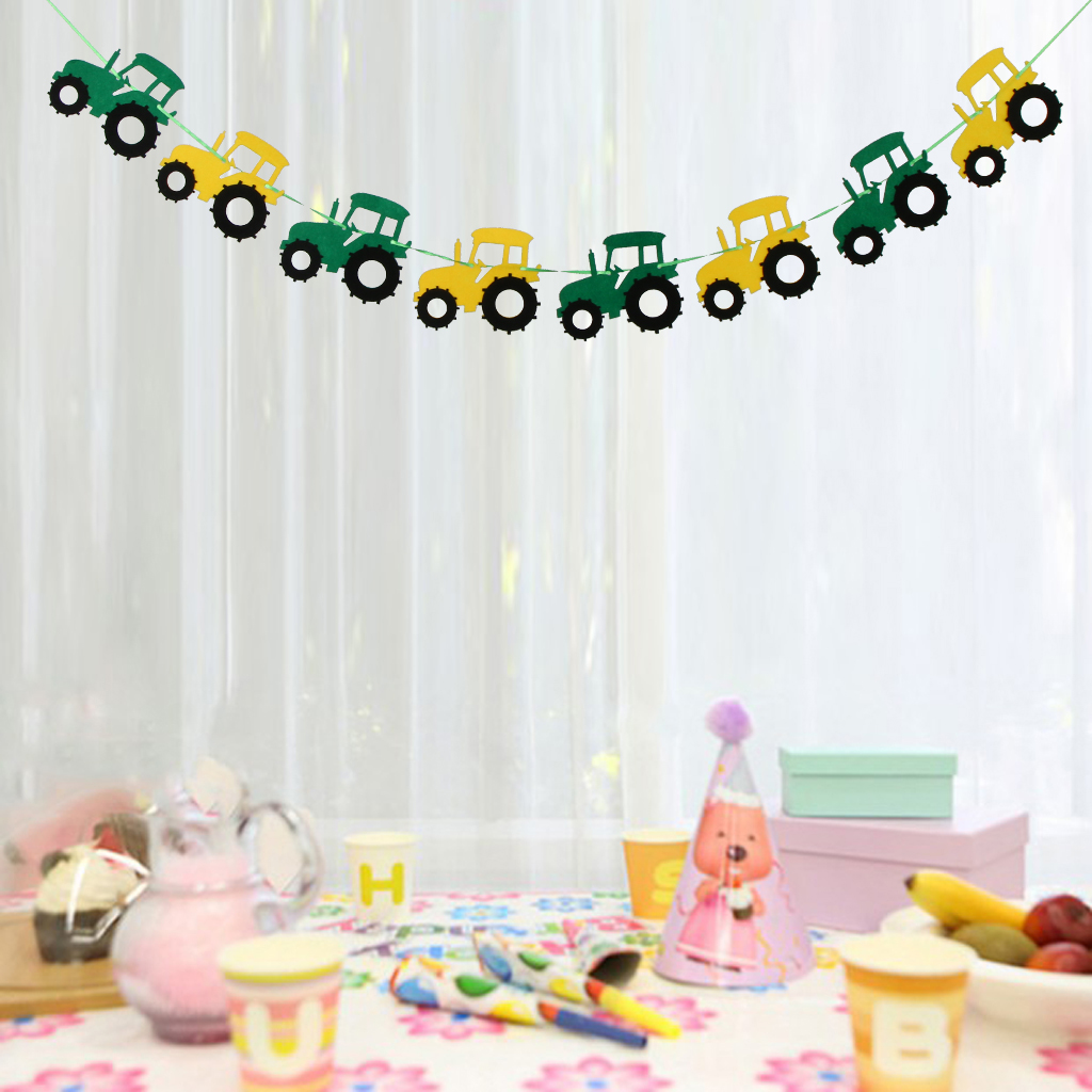 green-tractor happy birthday banner garland construction vehicle party-deco/_T*bp