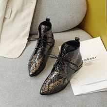 Krazing pot baskılar cilt hakiki deri vintage chic sivri burun sıcak tutmak düşük topuklu muhteşem süperstar moda yarım çizmeler l5f3(China)