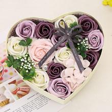Hari Valentine Buatan Sabun Bunga Mawar Berbentuk Hati Kotak Hadiah Mawar Merah Bunga Gadis Teman Hadiah Meriah Pesta dekorasi(China)