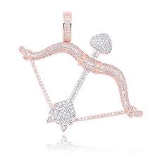 Nowo zaprojektowany Iced Out Bow & wisiorek ze strzałką Solid Back naszyjnik Hip Hop złoty kolor srebrny mężczyzna/kobieta Charm Chain Jewelry(China)