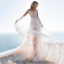 2020 Съемная юбка 2 в 1 свадебное платье Кружевная аппликация Тюль с открытыми плечами пляжное свадебное платье богемные свадебные платья(China)