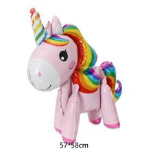 1PC 57*58 Cm Berwarna Merah Muda Kuda Unicorn Balon Foil Helium Balon Mainan Anak Ulang Tahun Pernikahan Pesta Hewan dekorasi Persediaan(China)