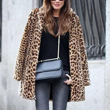 PLUS ขนาด 3X ผู้หญิงเสือดาว Faux เสื้อขนสัตว์ฤดูหนาวเสื้อ Slim เสื้อขนสัตว์ Outerwear Hooded Hoodies กระเป๋าเสื้อกันห...(China)
