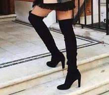 LOOZYKIT Kadın Uzun Çizmeler Diz üzerinde Topuklu Çizmeler deri ayakkabı Kadın Seksi Parti Streç Akın Kış Yüksek Çizmeler Süet Botas(China)