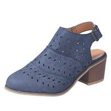 Đầm Khoét Hở Nữ Nữ Ngắn Giày Bốt Gót Vuông Rỗng Ra Sandals Đế Gót Vuông Đỏ Da Bò phụ N(China)