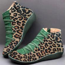 Kadın PU deri yarım çizmeler yılan derisi kadın leopar sonbahar kış Vintage kadınlar serseri çizmeler düz bayan ayakkabıları kadın Botas(China)