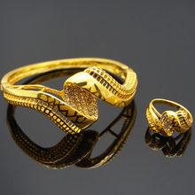 צמידי נשים זהב ציפוי תכשיטי סטי סטי תכשיטי אופנה נשים bangel טבעת חדש עיצוב ריינסטון צמיד(China)