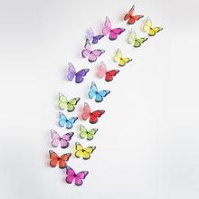 18 шт./лот 3d эффект кристалл стикер на стену с бабочками красивая бабочка для детской комнаты наклейки на стены украшение дома на стену(China)