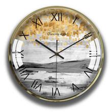 Современные настенные часы с цветами, круглые, Vogue, скандинавские, бесшумные часы, настенные, креативные, римское искусство, Montre, росписи, сад...(Китай)