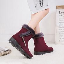 Da Lộn Sneakers Nữ Ủng 2019 Chắc Chắn Phẳng Sang Trọng Ấm Ủng Nữ Dây Kéo Giày Người Phụ Nữ Mùa Đông Mắt Cá Chân giày(China)