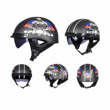 GXT fibre de carbone rétro casque de Moto Crash Moto casque Vintage Scooter demi visage casque motard Moto casque avec visière(China)