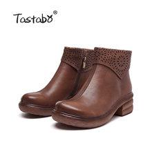 Tastabo hakiki deri el yapımı kadın çıplak botlar vahşi eğlence Martin çizmeler siyah kahverengi fermuar S1905-6 yüksek topuk kadın botları(China)