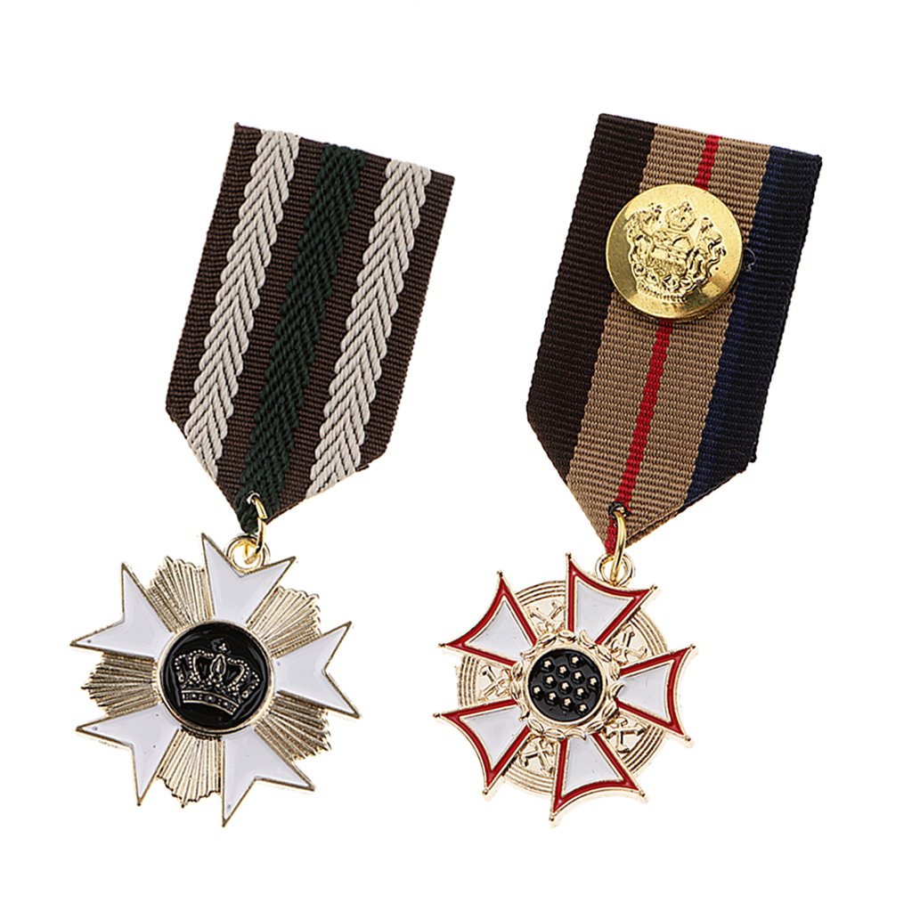 2Pc Vintage Brooch Pin Badge, Costume Medal for Party Fancy Dress Costume Prom Jewelry