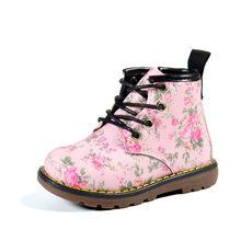 דימי 2019 סתיו בנות אופנה פרח עור מפוצל מרטין מגפי סדיר פרחוני מקרית החלקה ילדה קטנה תינוק מגפי נעליים(China)
