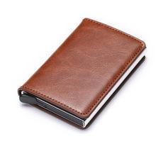 BISI GORO RFID en alliage d'aluminium porte-carte de crédit en cuir PU carte portefeuille porte-carte pour hommes femmes automatique Pop Up porte-cartes(China)
