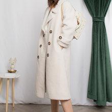 Abrigo de 100% de lana para mujer, abrigos largos de pelo de oveja 2020, chaqueta de invierno para mujer, chaquetas de piel de cordero Forro de gamuza MY3706 s(China)