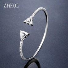 ZAKOL אלגנטי מעוקב Zirconia Drop פתיחת מתכוונן צמיד טבעת סט תכשיטי כלה לנשים חתונה יום הולדת מתנה FSSP3046(China)