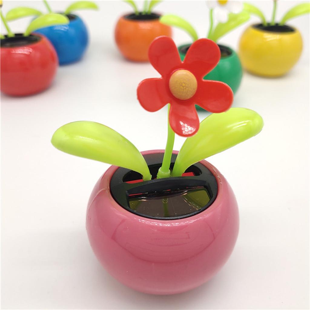 Solar Powered Dancing Sunflower Toy Flower Bobble Plant Pot Swing Gift