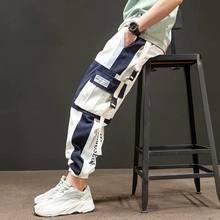 Männer der Seite Taschen Harem Hosen 2020 Herbst Hip Hop Casual Bänder Design Männlichen Jogger Hosen Mode Streetwear Hose Schwarz(China)