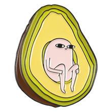 Cute Cartoon di Avocado Spilli faccia Gialla del cuore di Amore core Risvolto dello smalto Spille per le donne di Frutta pianta Regalo Del Partito Dei Monili Spilli distintivi e Simboli(China)