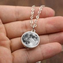LISTE et LUKE mode femmes hommes Double face gris pleine lune croissant de verre pendentif collier bijoux(China)