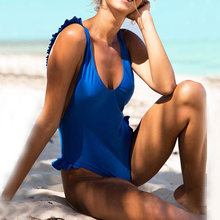Ingaga Tropis One Piece Swimsuit Tinggi Potong Baju Renang Wanita Sexy Deep V Baju Renang Cross Tali Baju Renang Wanita Printing Baru 2019(China)