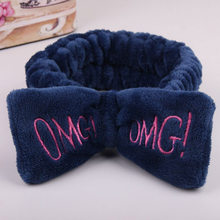 2019 New OMG Letter Coral Fleece Wash Face Bow Hairbands For Women Girls Headbands Headwear Hair Bands Turban Hair Accessories(China)