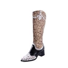 Nieuwe Mode Effen Kleur Snake Skin Laarzen Vrouwen Hoge Hakken Dikke Mid-kalf Boot Mode Wees Teen Kant Rits schoenen Lederen Laars(China)
