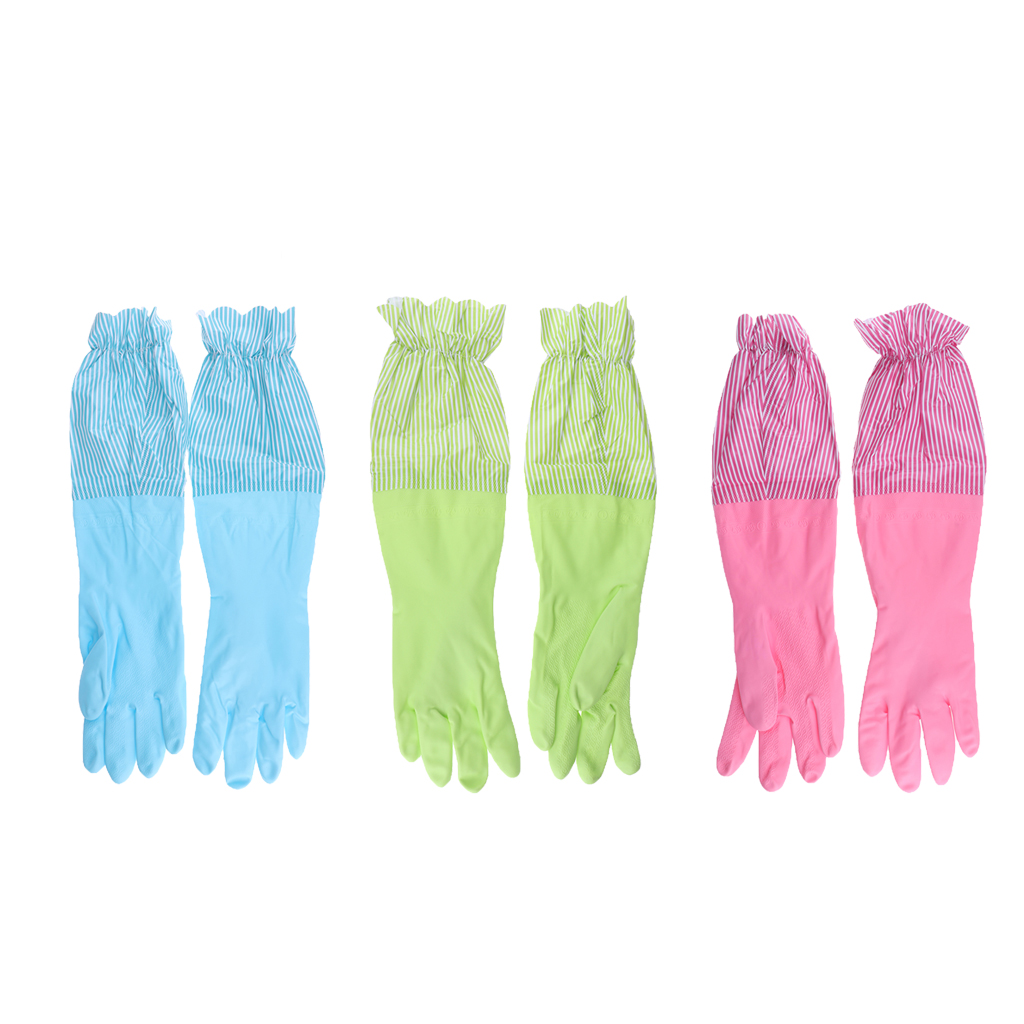 Reusable Waterproof Household Rubber Latex Cleaning Gloves, Long Cuff, Kitchen Gloves, 19 inches Long